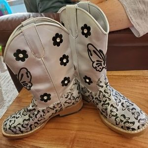 Silver and black little girls boots